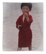 The Little Boy In The Red Silk Dress Fleece Blanket