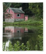 The Little Pink Cabin With Ripples Fleece Blanket