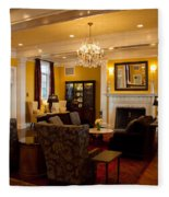 The Lobby Fireplace At The Sagamore Resort Fleece Blanket