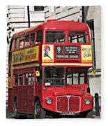 Vintage London Bus Fleece Blanket