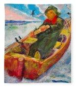 The Lone Boatman Fleece Blanket