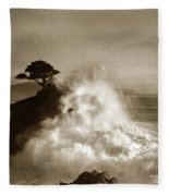 The Lone Cypress Midway Point Pebble Beach  Lewis Josselyn  Circa 1916  Fleece Blanket