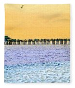 The Long Pier - Art By Sharon Cummings Fleece Blanket