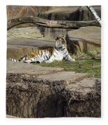 The Lounging Tiger 2 Fleece Blanket