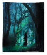 The Lovers Cottage By Night Fleece Blanket
