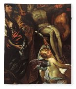 The Lowering Of The Cross With Sts Mary Magdalene Augustine Jerome And Angels Fleece Blanket