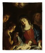 The Madonna Adoring The Infant Christ Fleece Blanket