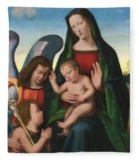 The Madonna And Child With The Young Saint John The Baptist And An Angel  Fleece Blanket