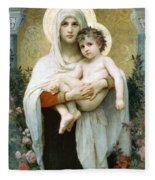 The Madonna Of The Roses Fleece Blanket