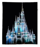 The Magic Kingdom Castle In Frosty Light Blue Walt Disney World Fleece Blanket