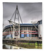 The Millennium Stadium With Flag Fleece Blanket