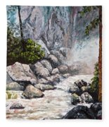 The Mist At Bridalveil Falls Fleece Blanket