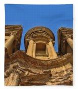 The Monastery In Petra Fleece Blanket