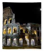 The Moon Above The Colosseum No1 Fleece Blanket