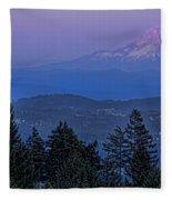 The Moon Beside Mt. Hood Fleece Blanket
