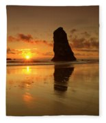 The Needles At Haystack - Cannon Beach Sunset  Fleece Blanket
