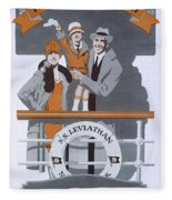 The New Holiday, Vintage Travel Poster Fleece Blanket