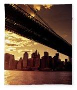 The New York City Skyline - Sunset Fleece Blanket