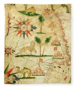 The North Coast Of Africa, From A Nautical Atlas, 1651 Ink On Vellum Fleece Blanket