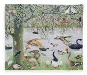 The Odd Duck Acrylic On Canvas Fleece Blanket