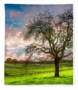 The Old Apple Tree At Dawn Fleece Blanket
