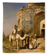 The Old Blue Tiled Mosque - India Fleece Blanket