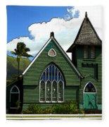 The Old Church In Hanalei Fleece Blanket
