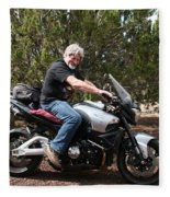 The Old Man On The Motorcycle Fleece Blanket