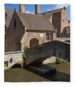 The Old Stone Bridge In Bruges Fleece Blanket