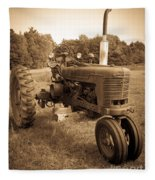 The Old Tractor Sepia Fleece Blanket