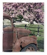 The Old Truck And The Crab Apple Fleece Blanket