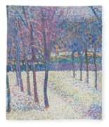 The Orchard Under The Snow  Fleece Blanket