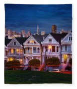 The Painted Ladies Of San Francsico Fleece Blanket