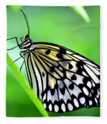 The Paper Kite Or Rice Paper Or Large Tree Nymph Butterfly Also Known As Idea Leuconoe Fleece Blanket