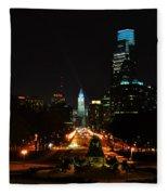 The Parkway At Night Fleece Blanket