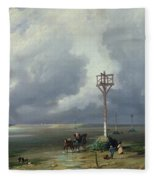 The Passage Du Gois At Noirmoutier, 1859 Oil On Canvas Fleece Blanket