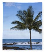 The Perfect Palm Tree - Sunset Beach Oahu Hawaii Fleece Blanket