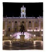 The Piazza Del Campidoglio At Night Fleece Blanket