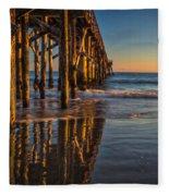 The Pier At Goleta Beach Fleece Blanket