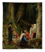 The Pilgrims From The Abbey Of St. Odile Oil On Canvas Fleece Blanket