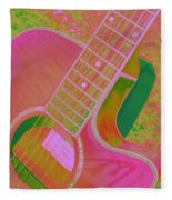 My Pink Guitar Pop Art Fleece Blanket