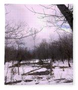 The Pink Winter Light On The Mountain Top Fleece Blanket