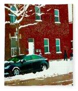 The Point Pointe St Charles Snowy Walk Past Red Brick House Winter City Scene Carole Spandau Fleece Blanket