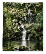 The Pond And The Forest Waterfall Fleece Blanket