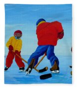 The Pond Hockey Game Fleece Blanket