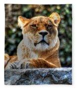 The Pondering Lioness Fleece Blanket