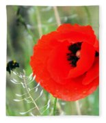The Poppy And The Bee Fleece Blanket