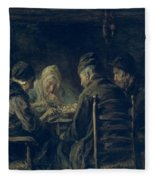The Potato Eaters, 1902 Fleece Blanket