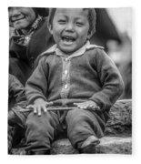The Power Of Smiles Bw Fleece Blanket