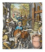 The Production Of Olive Oil, Plate 13 Fleece Blanket